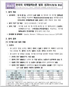 한국의 국제협력논문 발표 성과(미중일 중심)