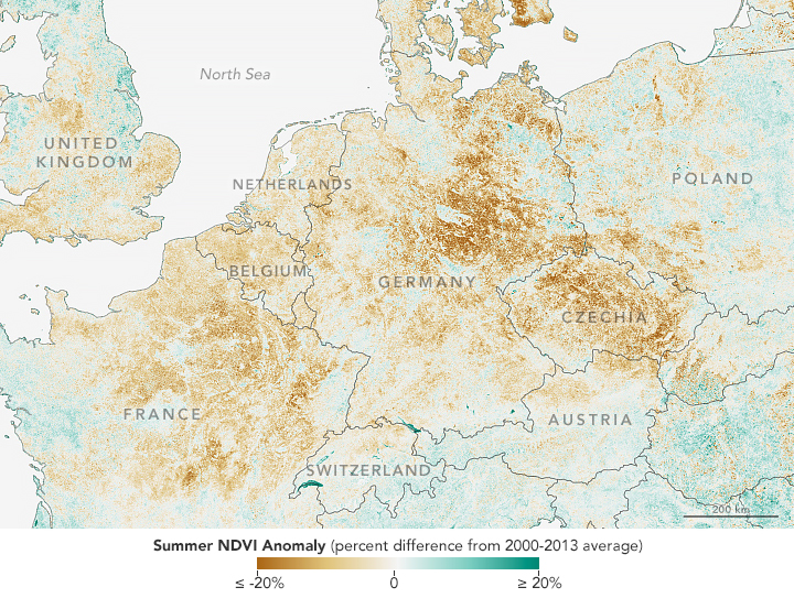 2018년 8월 31일 기준 2000-2013년 평균값 대비 정규식생지수