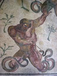 부상당한 기간테스-로마시대 벽화
